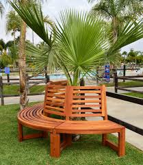 Semi Circular Patio Furniture by Half Circle Tree Bench For Garden Seating Forever Redwood