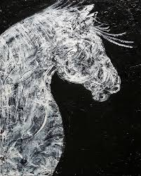 Abstract Draft Horse Black And White Painting By Holly Anderson