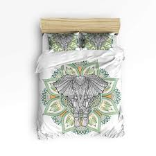 3 Pcs Rainbow Mandala Elephant Duvet Cover Set Bohemian Indian Pastel Floral Bed Set Hippie Gypsy Bedding Queen King Size White