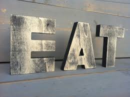 Eat Sign Tea Kitchen Wood 3 Letters 2