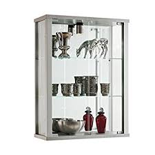 silver wall mounted glass display cabinet with lighting co