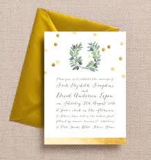 Olive Branch Painted Wreath Green Gold Confetti Mediterranean Italian Greek Wedding Invitations Invites Printable Printed By