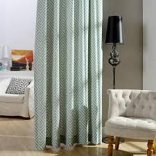 modern vorhang blau geometrie muster design im schlafzimmer
