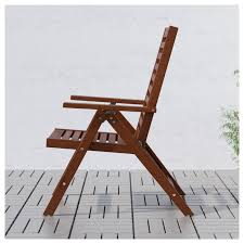 Reclining Chair, Outdoor ÄPPLARÖ Foldable Brown Brown Stained Brown