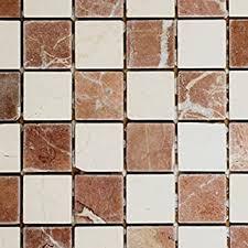 mosaik fliese marmor naturstein rot beige schachbrett rosso