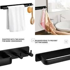 details zu hiraliy handtuchhalter ohne bohren geschirrtuchstange aluminium matt schwarz k