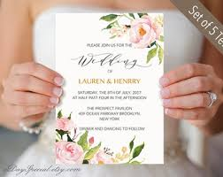 5 Peony Wedding Invitation Templates Printable Suite Floral Invites Set