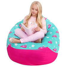 Yayme! Pink And Teal Flamingo Girls Stuffed Animal Storage Beanbag Cover |  Extra Large Size 41