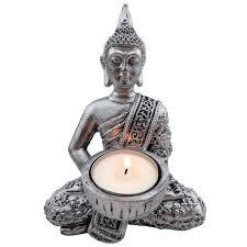 deko teelicht buddha figur klein 14 5x11cm figuren badezimmer wohnzimmer statue kerzenhalter teelichthalter dekoration kerze bad kerzen meditation