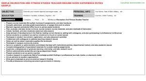 Recreation And Fitness Studies Teacher Resume