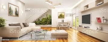 modernes wohnzimmer in einem großen haus mit treppe und garten stockfoto und mehr bilder architektur