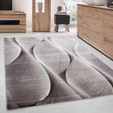 teppich modern designer wohnzimmer wellen holzoptik muster braun beige creme