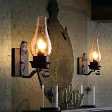 Rustic Wall Sconce Light Fixture Glass Shade Lamp Single Metal Chimney