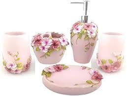 hqdeal bad accessoires set 5 teilig blumen design bloom badezimmer set seifenspender zahnbürstenhalter zahnputzbecher seifenschale rosa
