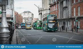 100 Dublin Street Irish Typical Bus Traveling Down Ireland Editorial