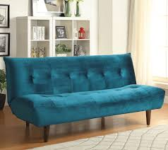 teal velvet sofa bed with solid wood legs tufted back