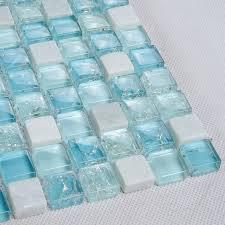 light blue mosaic mixed white tiles bathroom kitchen
