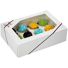 8 Sets Window Cupcake Box With Inserts 14 X 10 4 Automatic Clay Coated Kraft Paperboard Bakery Boxes For 12 Standard Size
