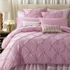 Luxury Pink Silk & Cotton Bedding Set Handmade Ruffle Diamond