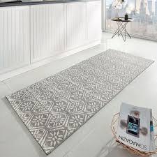 küchenläufer flachgewebe läufer creation grau creme 80x200 cm