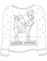 Christmas Ugly Sweater With Santa On Reindeer Motif Coloring Page From Sweaters Category