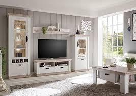scouts wohnwand kiruna iv schrankwand wohnzimmerschrank wohnkombination 4tlg landhausstil modern pinie weiß oslo pinie 296x201x37cm