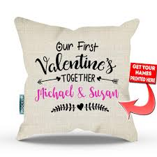 Personalized Our First Valentine s To her Throw Pillow Cover