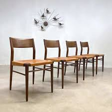 Set Of 4 Teak & Leather Dining Chairs By Georg Leowald For Wilkhahn