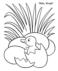 Duck Egg Hatching Beside Grass Coloring Pages