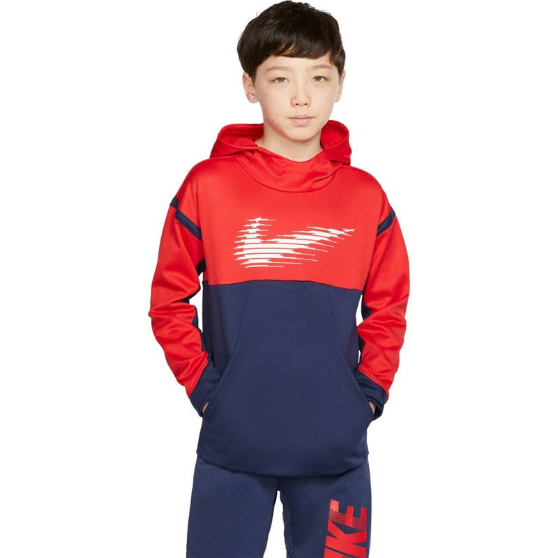 Nike University Red/Midnight Navy Boys 8-20 Therma Graphic Hoodie