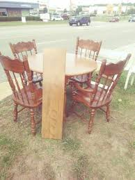 High Point NC Carved Wood Chairs And Round Kitchen Or Dining Room Table Set For Sale In