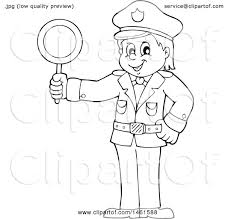 Clipart of a Black and White Police ficer Holding a Sign