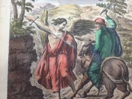 Balaams Ass Speaks Numbers 22 Biblical Hand Colored Engraving G Freman Delin 1700s Judaica