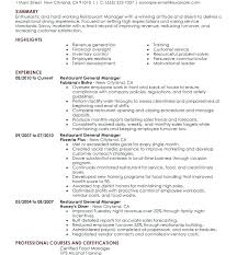 Assistant Manager Resume Skills Restaurant Responsibilities