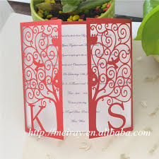 Wedding Invitations Paper Crafts Laser Cut Red Happiness Tree Rustic