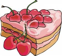 A Slice of Cherry Cake Clip Art Image