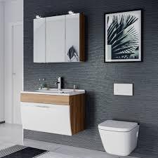 bad waschtisch salona 1 klappe 70 cm breit weiß eiche hell