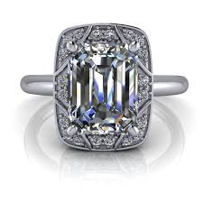 Vintage Art Deco Inspired Emerald Cut Engagement Ring 2ct