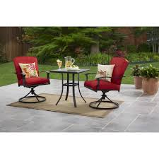 Mainstays Belden Park 3-Piece Swivel Bistro Set, Seats 2 Mainstays Cambridge Park Wicker Outdoor Rocking Chair Folding Plush Saucer Multiple Colors Walmartcom Mahogany With Sling Back Natural 6 Foldinhalf Table Black Patio White Solid Wood Slat Brown Shop All Chairs