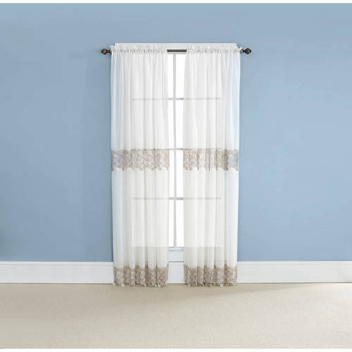Lillian Macrame Trim Curtain Panel Ivory