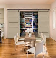 Open Gray Barn Door - Kitchen Pantry - Beige Walls | Window ... 11 Best Garage Doors Images On Pinterest Doors Garage Door Open Barn Stock Photo Image Of Retro Barrier Livestock Catchy Door Background Photo Of Bedroom Design Title Hinged Style Doorsbarn Wallbed Wallbeds N More Mfsamuel Finally Posting My Barn Doors With A Twist At The End Endearing 60 Inspiration Bifold Replace Your Laundry Pantry Or Closet Best 25 Farmhouse Tracks And Rails Ideas Hayloft North View With Dropped Down Espresso 3 Panel Beige Walls Window From Old Hdr Creme