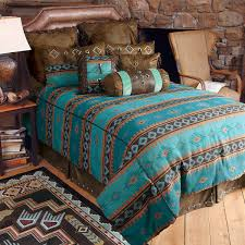 Rustic Bedroom Ideas With Western Brown Turquoise King Comforter Set Dark Upholstered Headboard