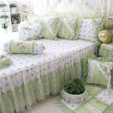 2014 New Korean Ruffle Bedding Sets Modern Mint Green Duvet Cover Set Rustic Vintage Floral