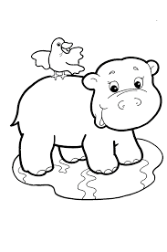 Cartoon Hippopotamus With Bird