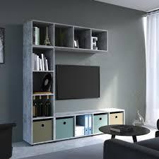 vicco raumteiler 4 fächer grau beton 144 x 36 cm standregal hängeregal regal tv lowboard sideboard