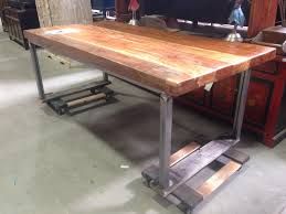 Welded Metal Table Custom Wood Plank Desk And Furniture At San