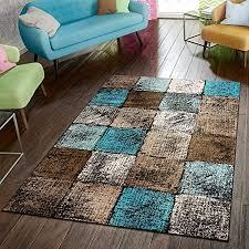 paco home designer teppich wohnzimmer ausgefallene farbkombination karo türkis braun creme grösse 60x100 cm