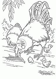 Realistic Hen And Rooster Coloring Page For Kids Animal Pages Printables Farm Print Medium Size