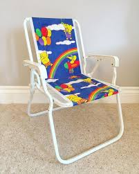 Vintage Retro Children's Fabric Chair - Elephants Rainbow Balloons -  Folding Camping Garden - Deck