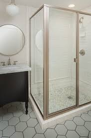 shower floor tile bathroom transitional with mirrors